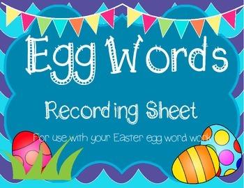 Easter Eggs Word Work Recording Sheet