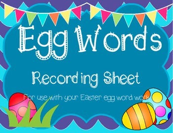 Easter Eggs Word Work Recording Sheet