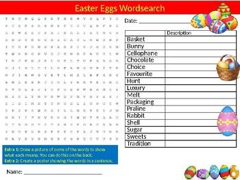 Easter Eggs Wordsearch Sheet Starter Activity Keywords Religious Education