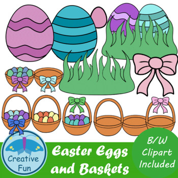 Easter Eggs and Baskets Clip Art