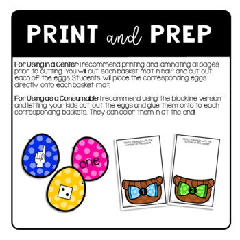 Easter Eggs and Baskets Number Matching