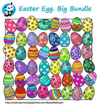 Easter Eggs  clipart. Big Bundle.