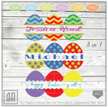 Easter Eggs Monogram Svg Split Easter Eggs Egg Cut File By Blueberry Hill Art
