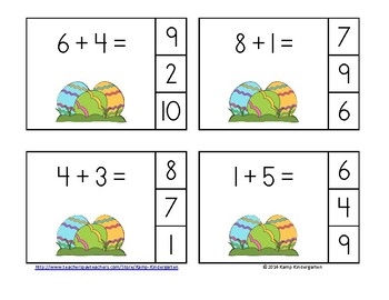 Easter Eggs-travaganza Addition Math Centers (Sums of 0 to 10)