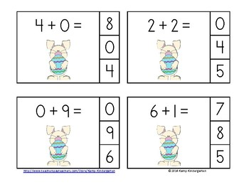 Easter Eggs-travaganza Addition Math Centers Sums to 10