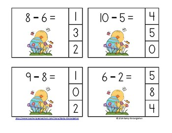 Easter Eggs-travaganza Subtraction Math Centers Minuends to 10