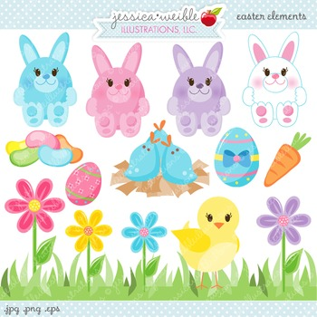 Easter Elements Cute Digital Clipart, Easter Bunny Clip Art