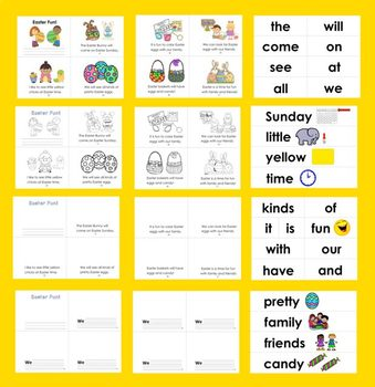 Easter Activities: Mini Books Differentiated with 3 Levels+Illustrated Word Wall