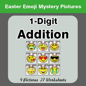 Easter Emoji: 1-digit Addition - Color-By-Number Math Mystery Pictures