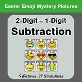 Easter Emoji: 2-digit - 1-digit Subtraction - Color-By-Num