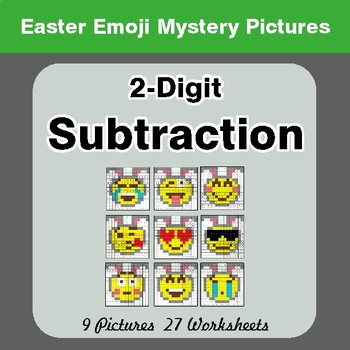 Easter Emoji: 2-digit Subtraction - Color-By-Number Math Mystery Pictures