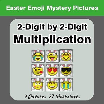 Easter Emoji: 2-digit by 2-digit Multiplication Color-By-Number Math Mystery Pictures