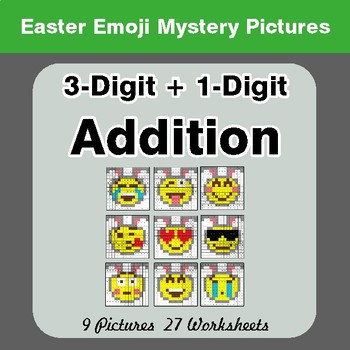 Easter Emoji: 3-digit + 1-digit Addition - Color-By-Number Math Mystery Pictures