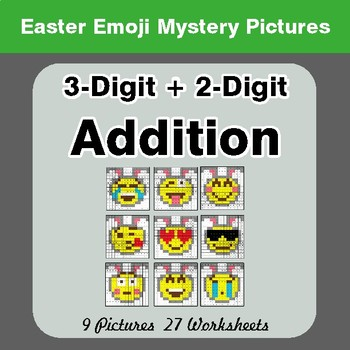 Easter Emoji: 3-digit + 2-digit Addition - Color-By-Number Math Mystery Pictures