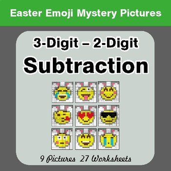 Easter Emoji: 3-digit - 2-digit Subtraction - Color-By-Number Mystery Pictures
