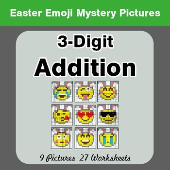 Easter Emoji: 3-digit Addition - Color-By-Number Mystery Pictures