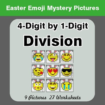 Easter Emoji: 4-digit by 1-digit Division - Color-By-Number Mystery Pictures
