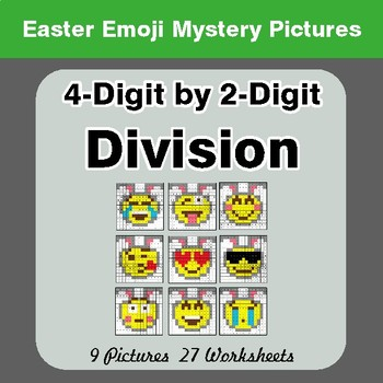 Easter Emoji: 4-digit by 2-digit Division - Color-By-Number Mystery Pictures