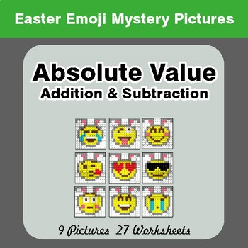 Easter Emoji: Absolute Value: Addition & Subtraction - Mystery Pictures