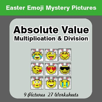 Easter Emoji: Absolute Value: Multiplication & Division - Mystery Pictures