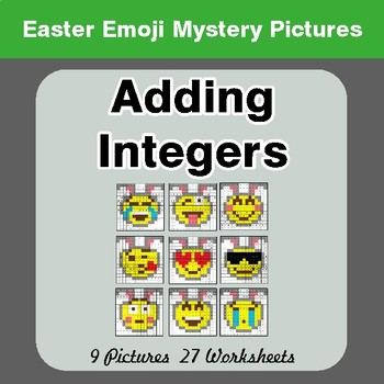 Easter Emoji: Adding Integers - Color-By-Number Math Mystery Pictures