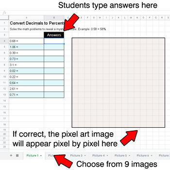 Easter Emoji - Convert Decimals to Percents - Google Sheets Pixel Art