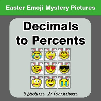Easter Emoji: Decimals to Percents - Color-By-Number Math Mystery Pictures