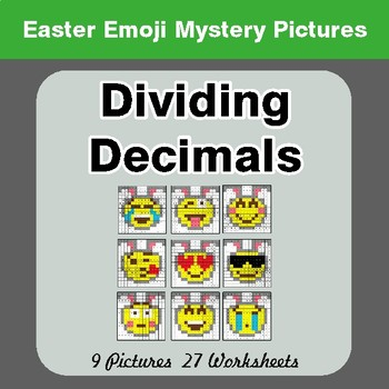 Easter Emoji: Dividing Decimals - Color-By-Number Math Mystery Pictures