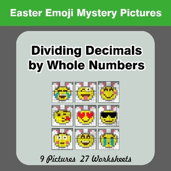Easter Emoji: Dividing Decimals by Whole Numbers - Math Mystery Pictures