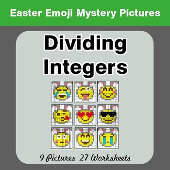 Easter Emoji: Dividing Integers - Color-By-Number Math Mystery Pictures