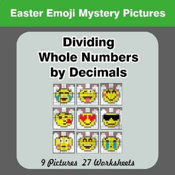 Easter Emoji: Dividing Whole Numbers by Decimals - Math Mystery Pictures