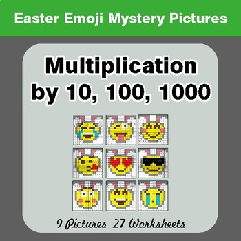 Easter Emoji: Multiplication by 10, 100, 1000 - Color-By-Number Math Mystery Pictures
