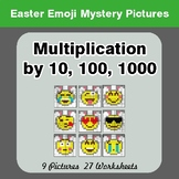 Easter Emoji: Multiplication by 10, 100, 1000 - Color-By-N