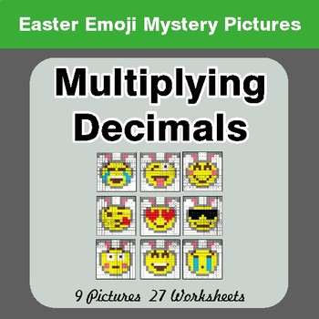 Easter Emoji: Multiplying Decimals - Color-By-Number Mystery Pictures
