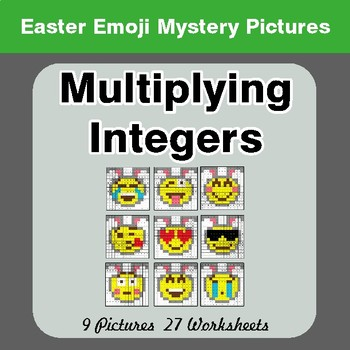 Easter Emoji: Multiplying Integers - Color-By-Number Math Mystery Pictures