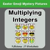 Easter Emoji: Multiplying Integers - Color-By-Number Myste
