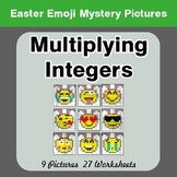 Easter Emoji: Multiplying Integers - Color-By-Number Myste