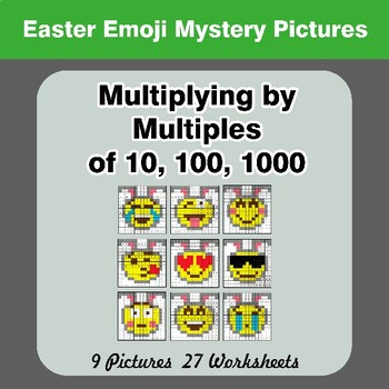 Easter Emoji: Multiplying by Multiples of 10, 100, 1000 - Math Mystery Pictures