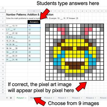 Easter Emoji - Number Patterns: Addition & Subtraction - Google Sheets