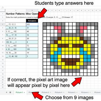 Easter Emoji - Number Patterns: Misc Operations - Google Sheets Pixel Art