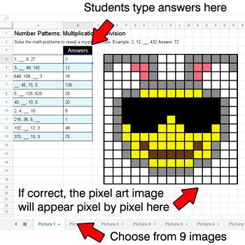 Easter Emoji - Number Patterns: Multiplication & Division - Google Sheets