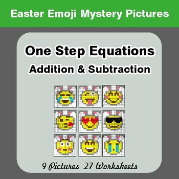 Easter Emoji: One Step Equation Addition & Subtraction - Math Mystery Pictures