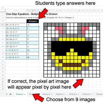 Easter Emoji: One-Step Equations - Multiplication & Division - Google Sheets