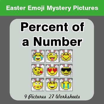 Easter Emoji: Percent of a number - Color-By-Number Math Mystery Pictures
