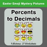 Easter Emoji: Percents to Decimals - Color-By-Number Myste