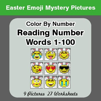 Easter Emoji: Reading Number Words 1-100 - Color By Number - Mystery Pictures
