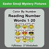 Easter Emoji: Reading Number Words 1-20 - Color By Number