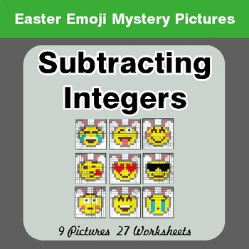 Easter Emoji: Subtracting Integers - Color-By-Number Mystery Pictures
