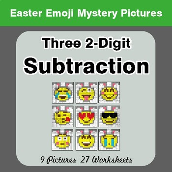 Easter Emoji: Three 2-digit Subtraction - Color-By-Number Math Mystery Pictures