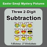 Easter Emoji: Three 2-digit Subtraction - Color-By-Number
